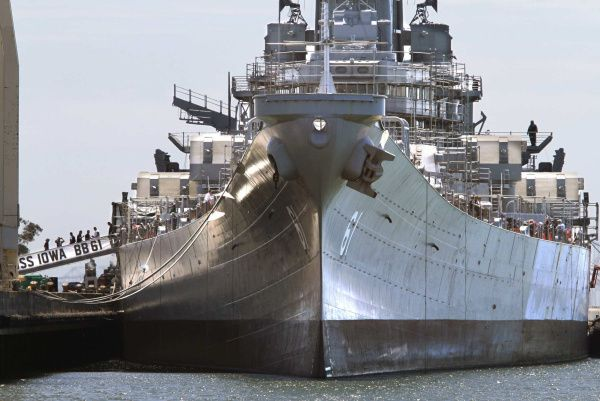 USS Iowa, docked in Richmond, Calif. amazed at how wide she is.