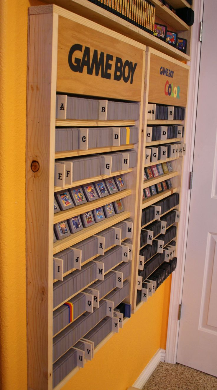7 best images about ethans room on pinterest arcade for Game storage ideas