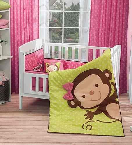 juego de cuna baby monkey edredon niñas bebe vianney mn4