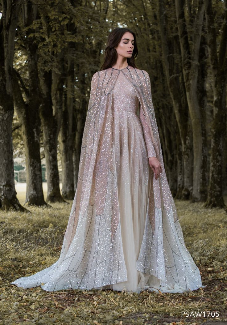 PSAW1705 - Caped gown with wing inspired embroidery and dégradé beading