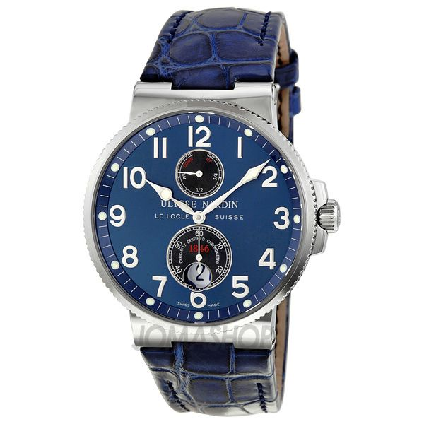 Ulysse Nardin Maxi Marine Chronometer Blue Dial Leather Mens Watch 263-66/623