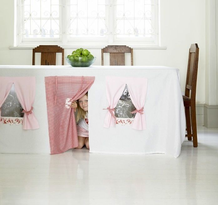 Here's an easy sewing project to make for kids to have a fort on rainy days. I loved those small tight spaced that were my private place. ~Denise