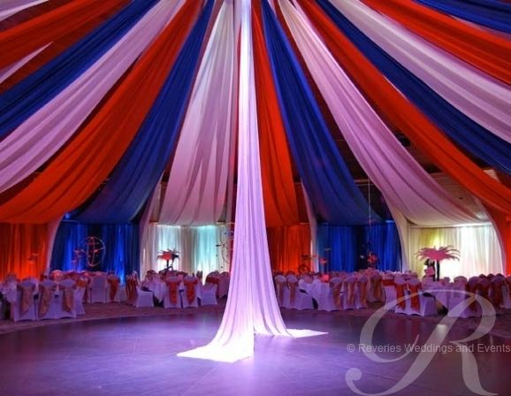 'Circus' themed drapes. Drape hire and drapes for events Bristol Brighton London