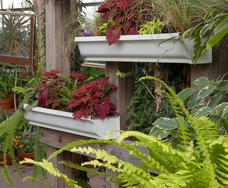 Use rain gutter sections as planter boxes show house for Rain gutter planter box