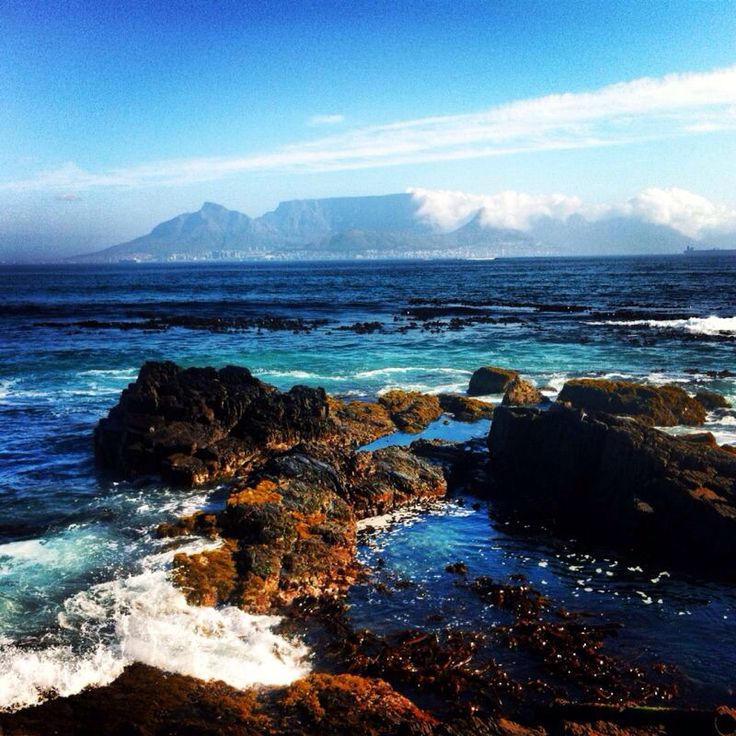 View from Robben Island to the Tafelberg/ Table Mountain. Cape town, South Africa.