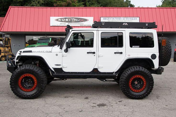2013 Custom Jeep Wrangler Rubicon Unlimited White - Poison Spyder Rocker Knockers Side Armor