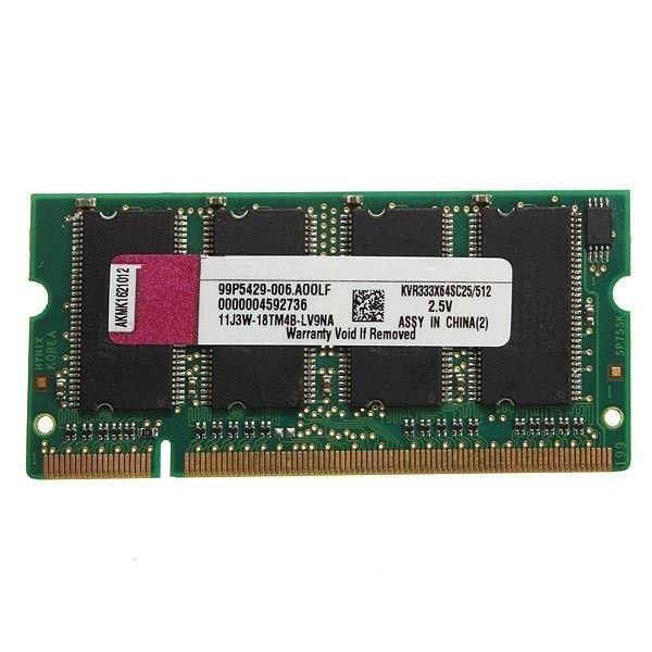 200-pin Laptop 512mb Ddr-333 Pc2700(sodimm) Memory Ram Kit. Description: Mini 512MB DDR-333 PC2700(SODIMM) Memory RAM KIT 200-pin for Laptop Notebook  RAM features: Unbuffered Technology: DDR SDRAM Form factor: SODIMM 200-pin Memory speed [MHz]: 333 MHz Capacity: 512MB Memory specification compliance: PC2700 Data Integrity Check: Non-ECC CAS Latency timings: CL2.5 Supply Voltage: 2.5 V Fit: Laptop notebook  Package Included: 1 x Memory RAM