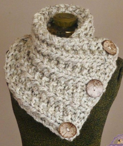 Knitting Pattern for Lancaster Scarf - This buttoned neckwarmer is a quick knit in super bulky yarn. You can also purchase the finished product.