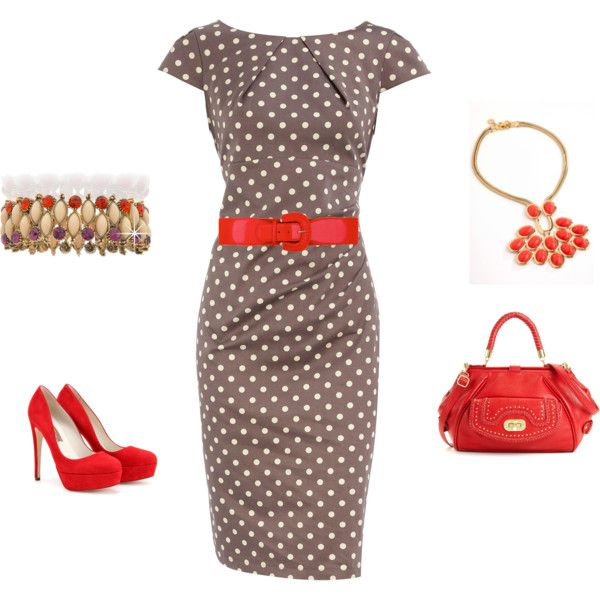 Love it!: Colors Combos, Pretty Woman, Vintage Outfit, Polka Dots Dresses Outfit, Great Outfit, Work Outfits, Accessories, The Dresses, My Style