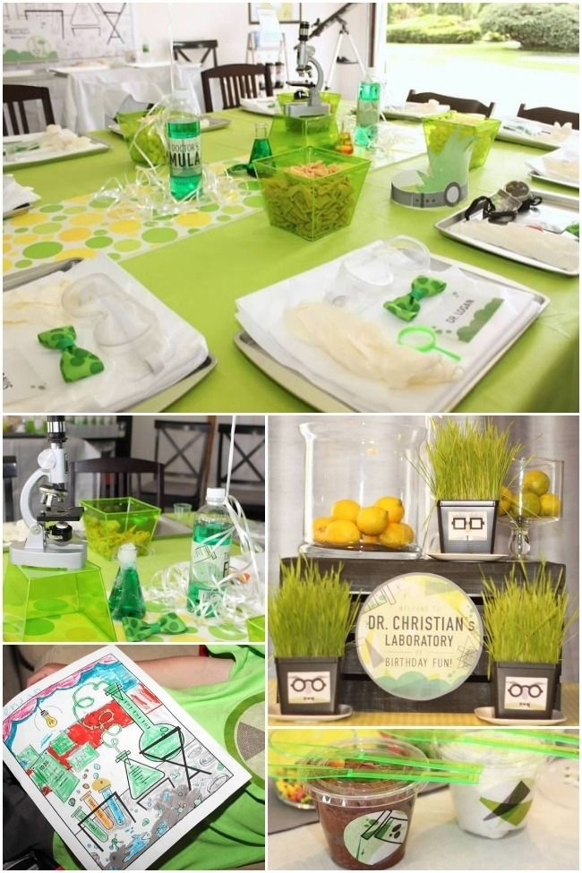 science innovation themed party ideas | beneath this display holds all manner of items to be used in the party ...