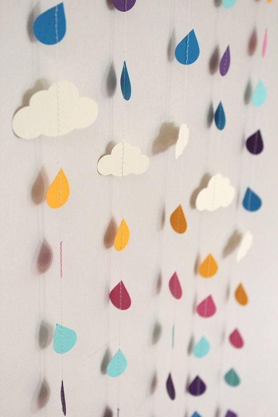 Rainbow Raindrops and Clouds Paper Garland  April par 1PixiePlace, $30,00
