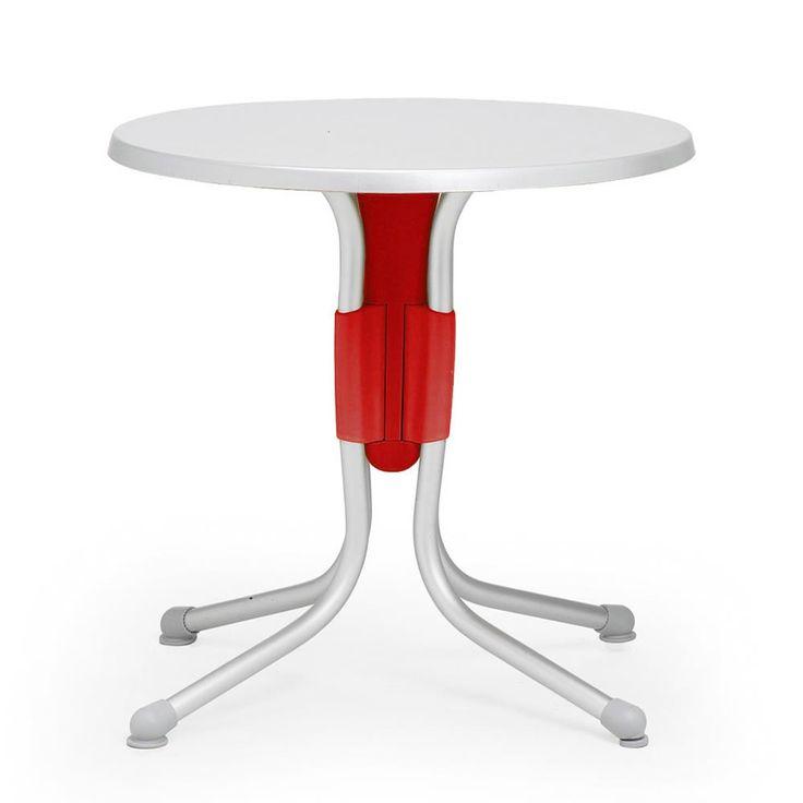 Tavolino Polo 80 di Nardi >>> Struttura Rosso / Anodizzato e Piano Argento
