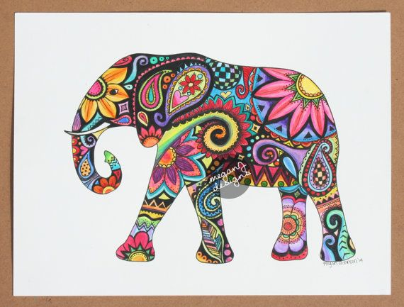 Original Watercolor Ink Elephant Painting Art - 9x12 Elephant Colorful Paint and Ink Wall Art Summer Boho Hippie Drawing Hand Painted Flower...