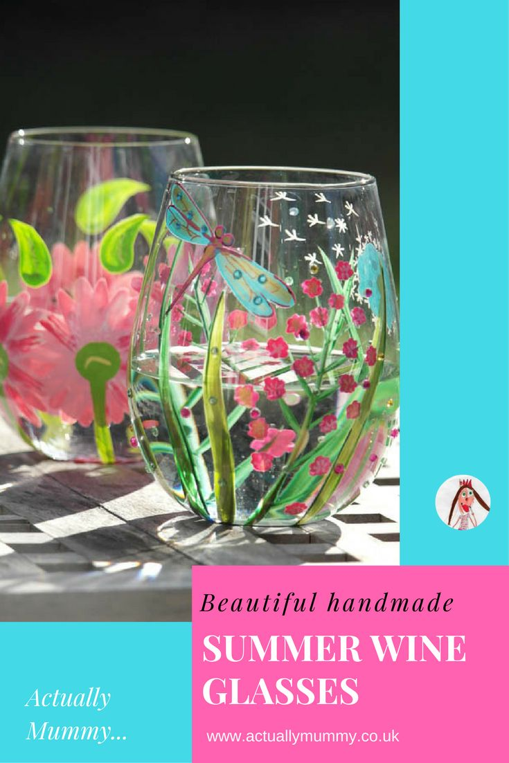 Aren't these handpainted stemless wine glasses just begging to be filled with rosé and taken out into the garden?