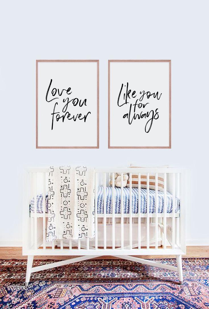 Love you forever, Like you for always - Bedroom, Unisex Nursery Artwork