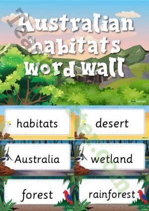 Australian Habitats Word Wall Vocabulary