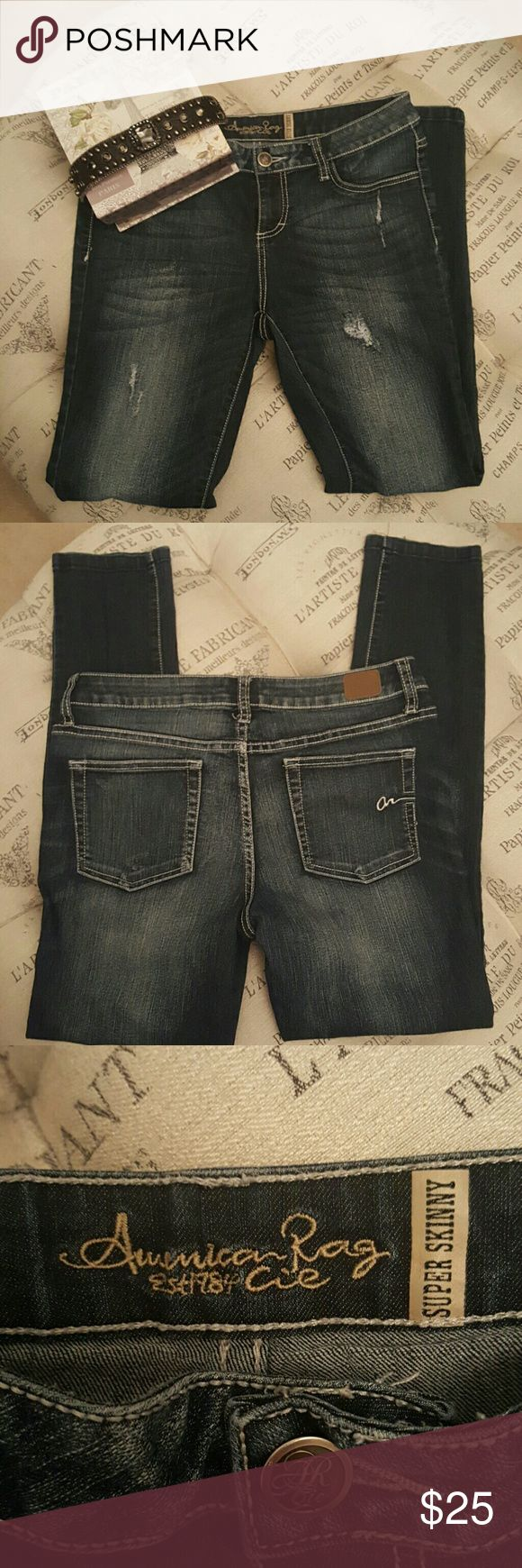 American Rag Distressed Jeans Distressed denim super soft skinny. Purchased in  macys junior Dept. I'm a,size,8 in women's and these fit perfectly. Looks fabulous tucked into your favorite pair of tall boots! American Rag  Jeans Skinny