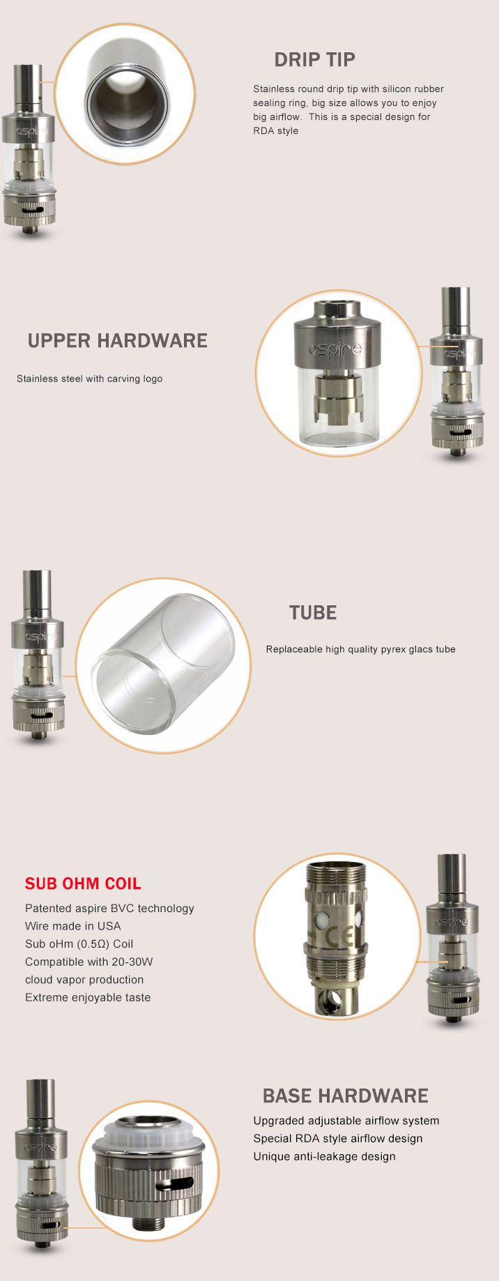 The Aspire Atlantis tank system brings improved adjustable airflow and Sub Ohm coils that provides performance similar to even the best rebuildable atomizer. By enhancing Aspire's Bottom Vertical Coil design Vapers will experience better taste and vapor production. Aspire's Atlantis Tank design is easy to carry, install, and refill [2.0mL].