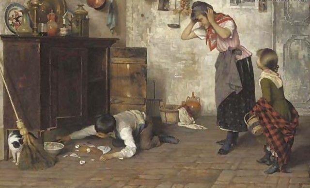 Luigi Pastega (1858-1927)-'the mischievous pet'-oil on canvas