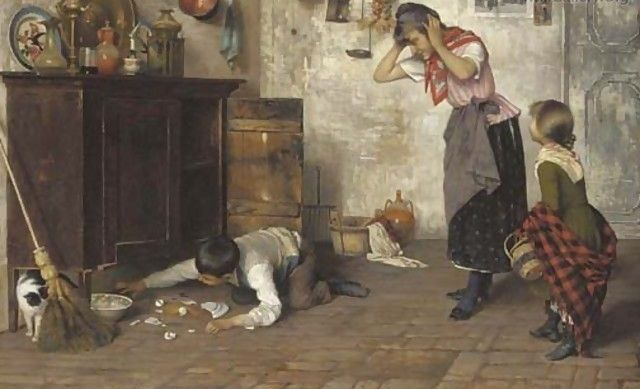 Luigi Pastega (1858-1927)-'the mischievous pet'-oil on canvas