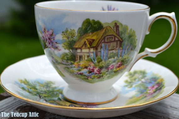 Royal Vale Teacup and Saucer Cottage Scenery by TheTeacupAttic
