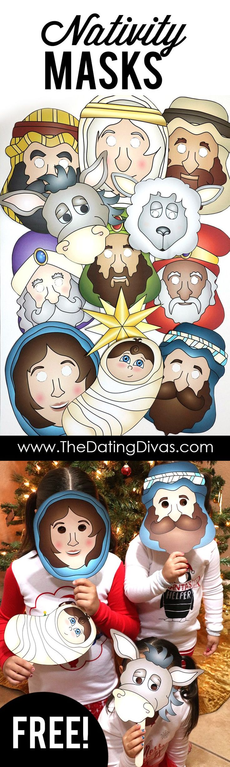 Free printable nativity masks to act out the nativity story as a family on Christmas Eve. This is my favorite family Christmas tradition!! And this post has 15 PAGES of nativity masks and props! www.TheDatingDivas.com