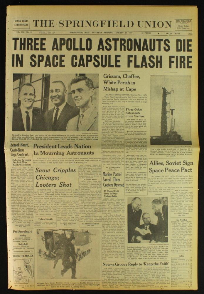 """Astronomy - Astronauts: January 27, 1967 newspaper story of tragic Apollo 1 flash fire accident on Launchpad Complex 34 killed all three crew members—Command Pilot Virgil I. """"Gus"""" Grissom, Senior Pilot Edward H. White II, and Pilot Roger B. Chaffee—and destroyed the Command Module (CM)."""