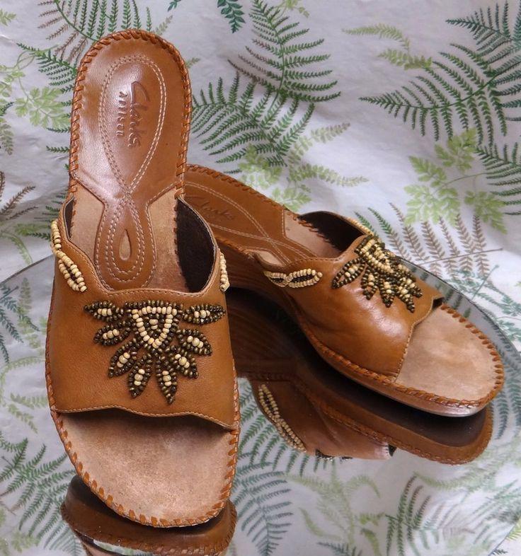 CLARKS BROWN LEATHER SLIP ONS SLIDES SANDALS DRESS HEELS SHOES WOMENS SZ 9.5 M #Clarks #Sandals #SpecialOccasion