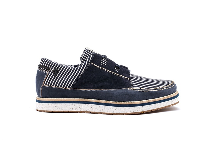 YOU FOOTWEAR - STRIPED DENIM SAIL - A sail shoe that evokes the classic boat-shoe models, Japanese indigo texture, Naturally tanned cowhide and suede leather (Navy Gray), Leather laces, Lining Material Bandana Printed Fabric (100% cotton), Leather insole, VIBRAM sole, Midsole realized in recycled EVA, a flexible and elastic rubber, that is resistant and ultra-light, Logo insert on back panel. Fits true to size. Made in Italy