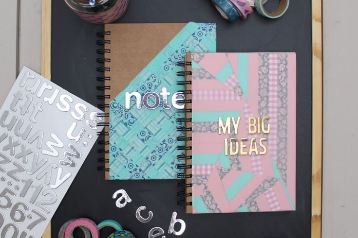 2 Ways to Decorate Notebook Covers with Duck Washi Tape #craft #diy #notebook #washitape
