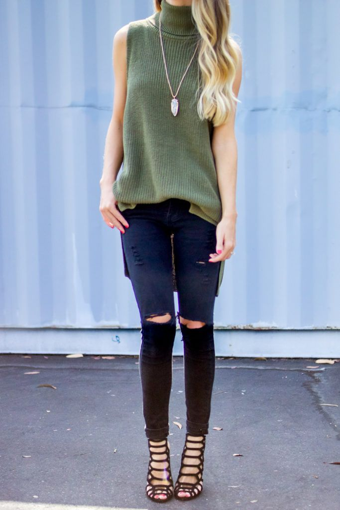 Sleeveless Turtleneck Fall Outfit    Happily Howards