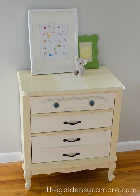 I started out by painting the body with ASCP in Cream and the drawers in Old White.  When I was done with that, I still wasn't satisfied wit...