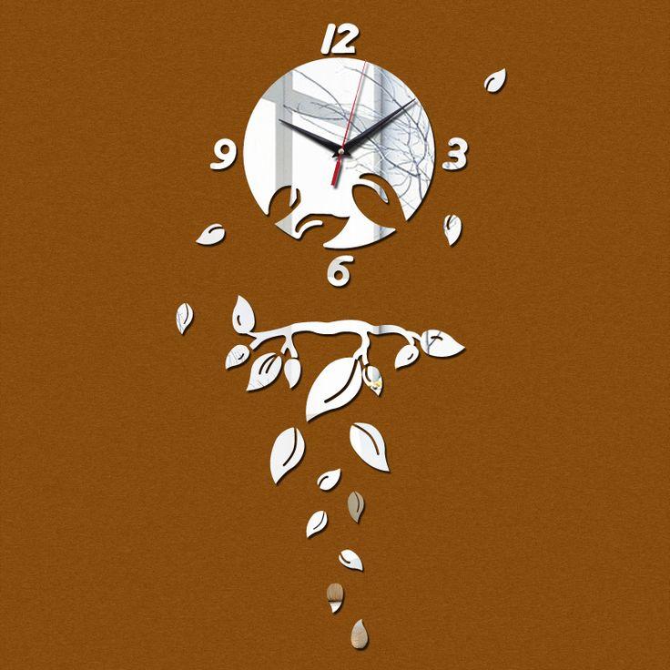 new 2017 modern acrylic mirror diy wall clock quartz watch large clocks reloj de pared vintage horloge Creative free shipping