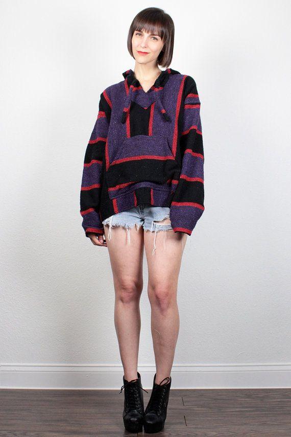 Vintage 90s Baja Poncho Black Purple Red Striped Surfer Skater Drug Rug 1990s Grunge Baja Jacket Textured Hippie Baja Hoodie Coat L XL Large by ShopTwitchVintage #vintage #etsy #90s #1990s #drugrug #poncho #baja #hoodie #grunge #hippie