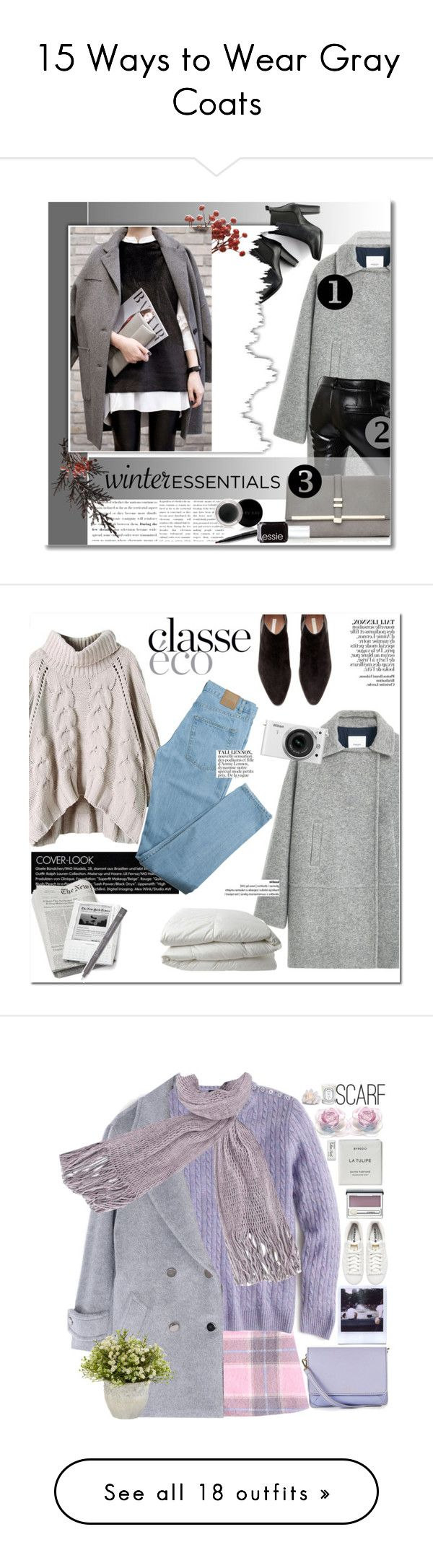 """15 Ways to Wear Gray Coats"" by polyvore-editorial ❤ liked on Polyvore featuring waystowear, graycoat, MANGO, Each X Other, SWEET MANGO, Wallis, Mary Kay, Essie, winteressentials and H&M"