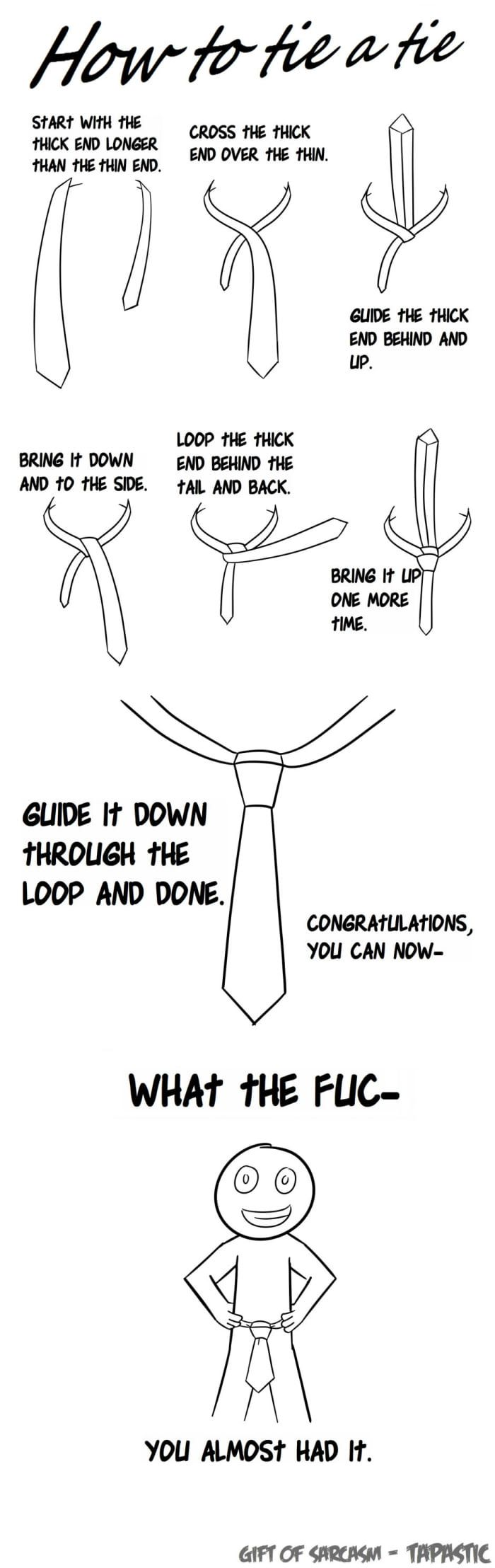 really hard to tie. www.fivepage.com #fivepage #comic #funny #troll #cartoon #cartoonillustrations