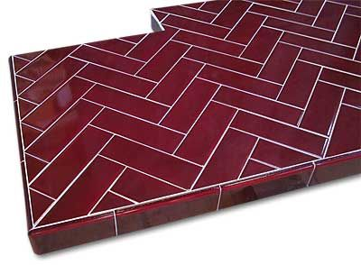 Glazed Hearth Tiles Herringbone Pattern Hearth Tiles