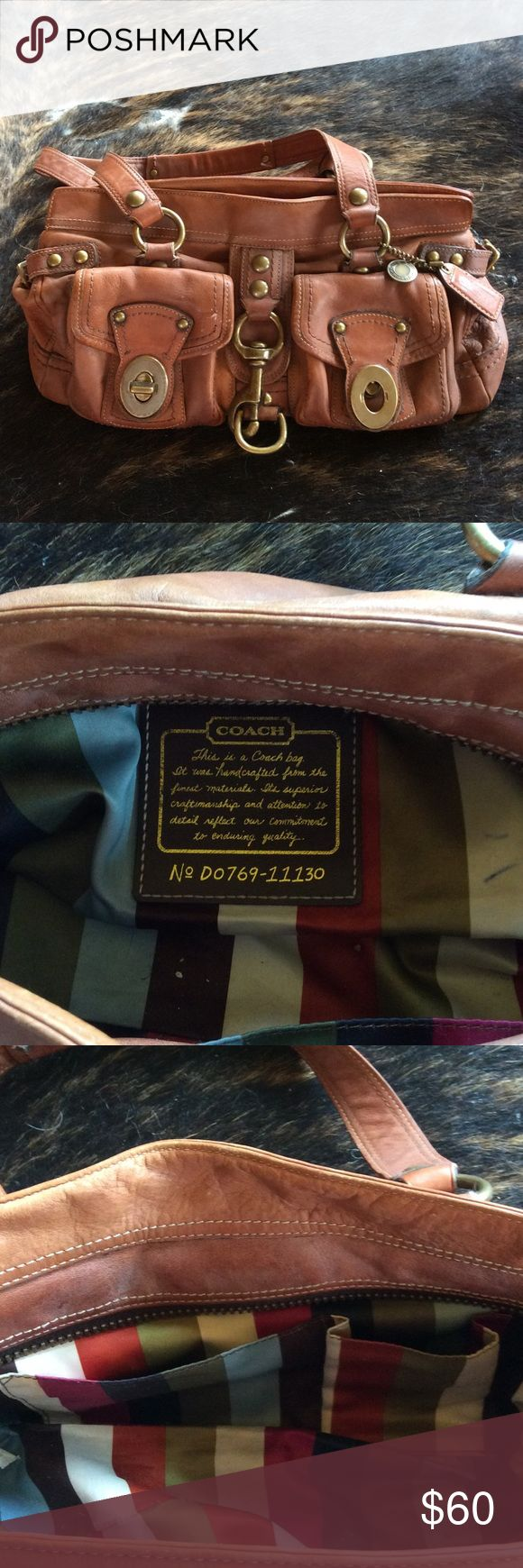 Coach legacy brown satchel Preloved, authentic whiskey color and worn in leather, missing one turn latch which can be refurbished at Coach, hook and zipper closure work fine, own a piece of quality and legacy history Coach Bags Satchels