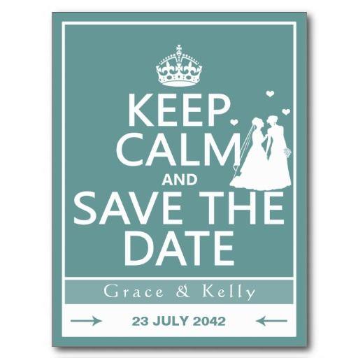 Keep Calm and Save The Date Lesbian Wedding Post Cards. So fun! #lesbianwedding