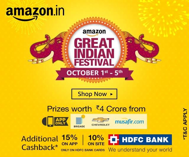 Amazon Great Indian Festival: http://amzn.to/2dxixjk Offers to be considered for 1st - 5th October, 2016: 1.) 10% Additional Cashback using HDFC Bank Debit & Credit Cards on Desktop and 15% Cashback on App. 2.) 30 mins early access for Amazon Prime. 3.) Hourly deals and offers, Offer page: http://amzn.to/2dxixjk.  #Amazon #AmazonGreatIndianFestival #AmazonOffers #Diwali #DiwaliOffers #GreatIndianFestival #AmazonDiwaliOffers #shopping #deals #nailthatdeal