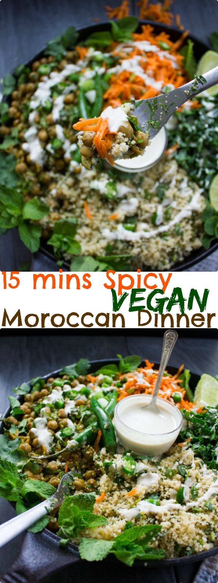 Spicy Vegan Chickpea Moroccan Couscous. Healthy, hearty and ultra satisfying! This recipe makes Vegan dinners a breeze--quick, easy and an absolute crowd pleaser! http://www.twopurplefigs.com