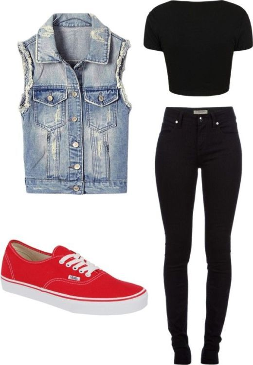 Black Top Blue Clothing and Red Shoes – ZKKOO