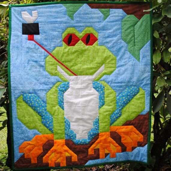 Frog Quilt Pattern with instructions for 3 sizes