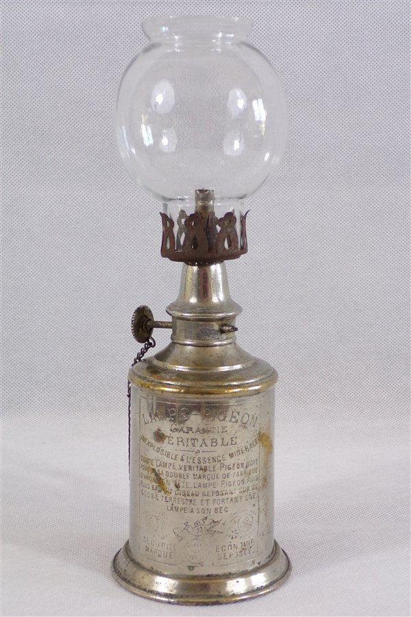 Lampe Pigeon veritable vintage laiton et chrome avec son verre d'origine / deco vintage / deco retro / lampe a essence / vintage france / de la boutique decobrock sur Etsy