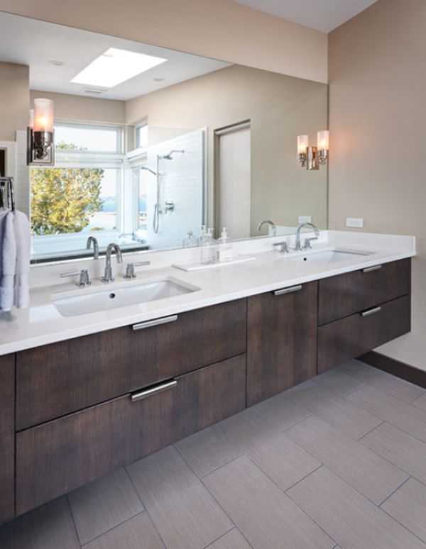 contemporary bathroom featuring a suspended vanity with two undermount sinks - Bathroom Sinks Designer