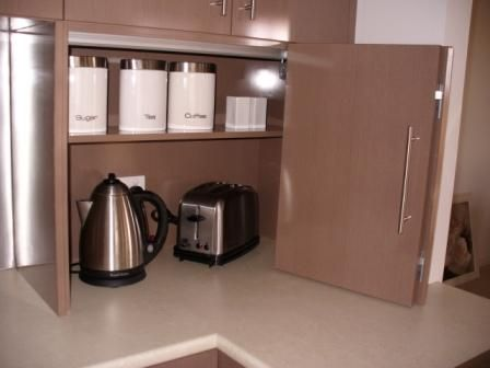 20 best kitchen cabinet images on pinterest kitchen ideas appliance cupboard love the way the kettle stays inside toaster too would rather use roller doorsgalley kitchenskitchen planetlyrics Image collections