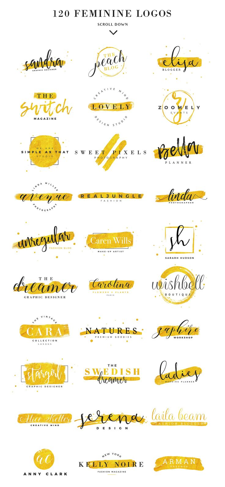 120 Feminine Branding Logos by Davide Bassu on @creativemarket #Branding #logo #Design