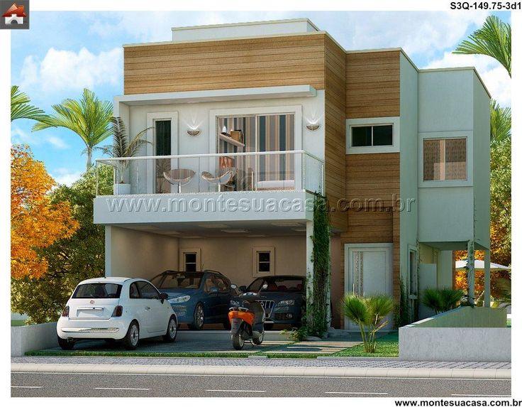 99 best images about sobrados 3 quartos portf lio for Fachadas de casas modernas de 2 quartos