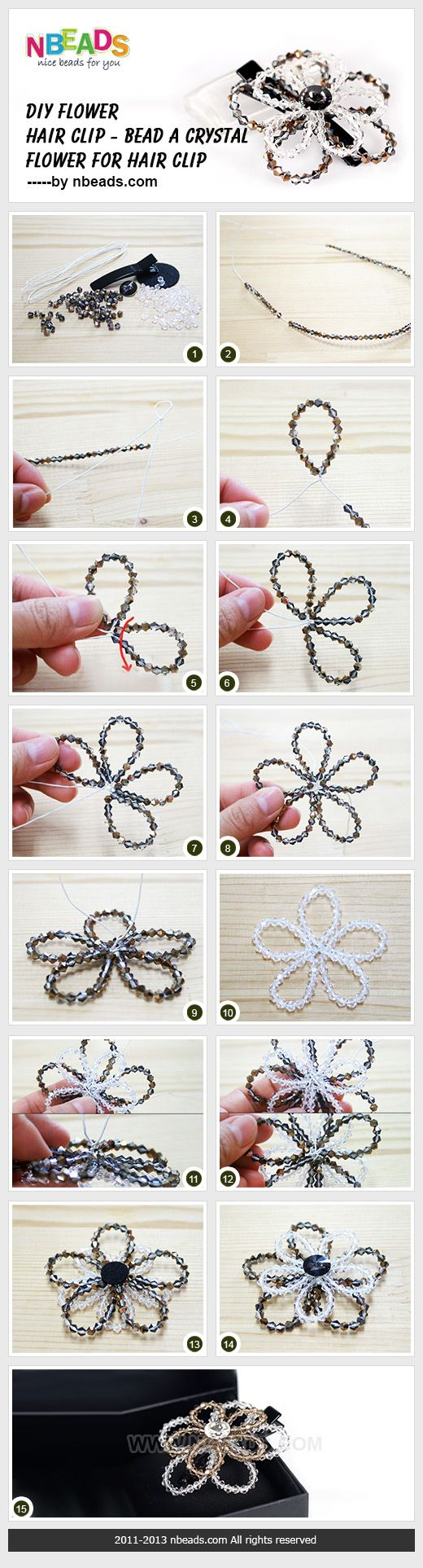 FROM nbeads.com: DIY flower hair clip - bead a crystal flower for hair clip