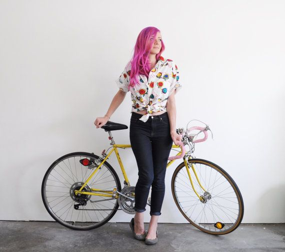 I like to ride my bicycle blouse . colorful bike print by DOTTO